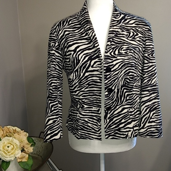 Bandolino Jackets & Blazers - Bandolino Black White Zebra Print Blazer Jacket 8